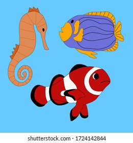 Set of ocean fish on a bkue background in vector graphics, in a flat style. For the design of zoological signs, prints on pillows, mugs, wrapping paper, notebook covers.