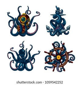 Set of octopus. Colored illustration with tentacles, anchor, ship wheel and scuba.