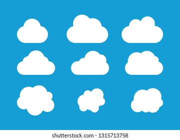 Set od clounds icon isolated on blue background.  Vector clounds collection .