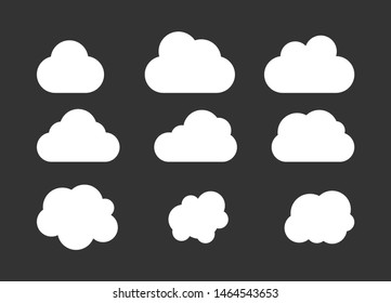 Set od clounds icon isolated on blue background.  Vector clounds collection