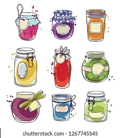 Set od hand drawn mason jars with jam, vector illustration