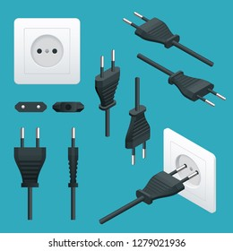 Set od Plugs and Sockets Type C. Used in Europe, with the exception of the UK, Ireland, Cyprus and Malta. View front and isometric. Vector illustration