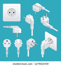Set od Plugs and Sockets Type E. Used in Europe, France, Belgium, Slovakia and Tunisia, Burundi, Cameroon among others. View front and isometric. Vector illustration