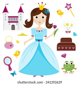 Set od princess in light blue dress and princess items.