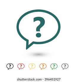 Set of: blue Chat question vector icon