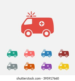 Set of: red Ambulance vector icon