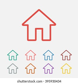 Set of: red House vector icon