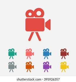 Set of: red Video camera vector icon