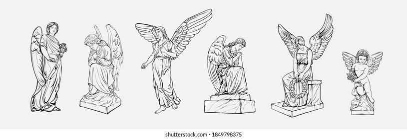 Set off Crying praying Angels sculptures with wings. Coloring page of the statues of an angel. Silhouettes of angel statues. Isolated. Vector illustration