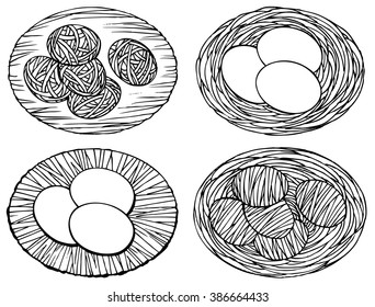 Set off egg - hand drawn vector illustration, isolated on white