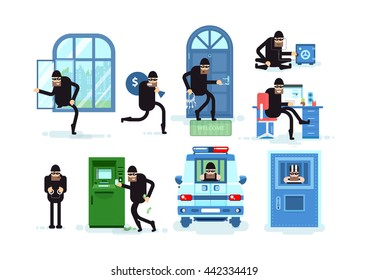 Set offenders break window, running with bag of money, thief hacks door lock picks, open safe, Hacker, criminal in handcuffs, steals from ATM, arrested in police car, prisoner in jail