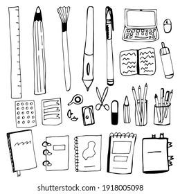 Set of office accessories in hand draw style. Pen, pencil, brush, laptop, computer mouse, sharpener, eraser, notebook, book, notepad, folder on rings in duddle style. Vector illustration isolated.