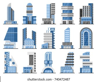 Set of office buildings or business centers skycrapers