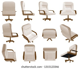 Set with an office chair in different positions. 3D. Polygonal armchair with brown handles. Vector illustration.