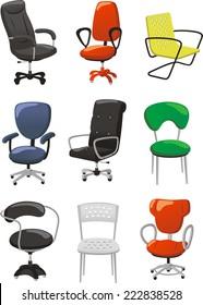 Set of office chairs cartoon vector illustration