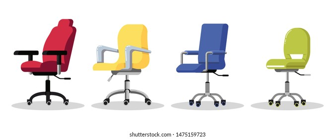 Set office chairs with casters. Modern desk height adjustable armchair. Side view. Furniture item for workplace at company or at home. Vector flat icon isolated on white background.