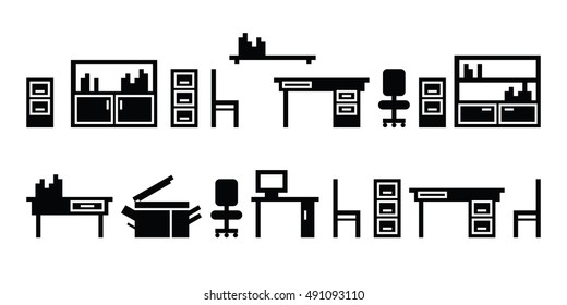 Set of office furniture icons. Simple vector pictogram