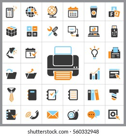 Set of Office Icons. Contains such Icons as Phone, Idea, Text, Folder, Computer, E-mail, Coffee, Calculator, Tie, Globe and more. Editable Vector. Pixel Perfect.