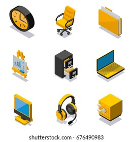 Set of office objects isometric icons