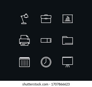 Set of office and stationery icons, chair, document, laptop, pin, printer, clock, calendar, bag, phone, book, box and linear variety vectors.