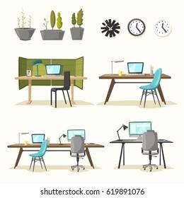 Set of office tables. Cartoon vector illustration.