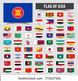 Set of official flags of Asia . Floating flag design .