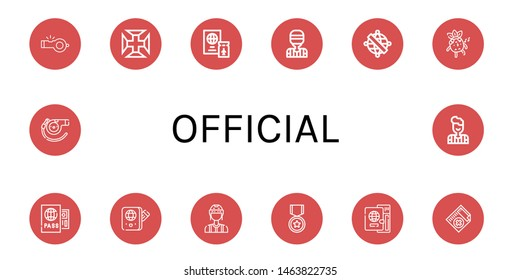 Set of official icons such as Whistle, Portugal cross, Passport, Referee, Armillary sphere, Official, Medical certificate , official