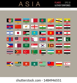 Set of official national flags of Asia and other territories. Alphabetical order. Vector design illustration