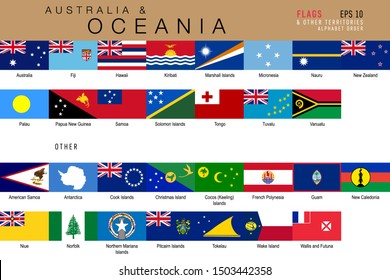 Set of official national flags of Australia and Oceania and other territories. Alphabetical order. Vector design illustration