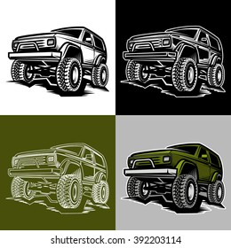 Set of off-road car truck 4x4 suv car emblems, badges and icons.