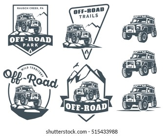 Set of off-road suv car monochrome logo, emblems and badges isolated on white background. Rock crawler car in mountains. Off-roading 4x4 trip emblems.