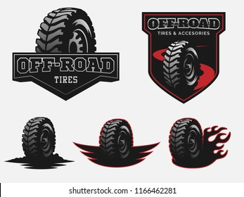 Set of off-road tire service logo emblems and badges.
