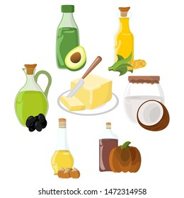 Set of Oil, Fat, Butter Icon. Food label, logo for Web and Banners. Cartoon Vector Illustration.