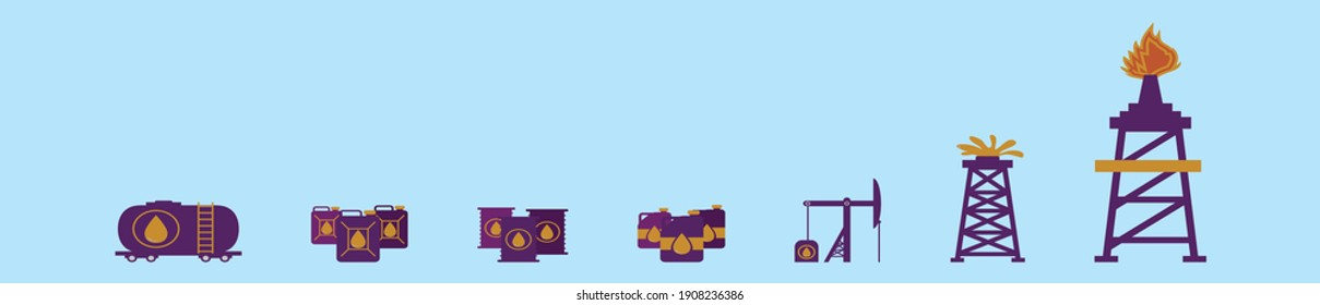 set of oil field cartoon icon design template with various models. modern vector illustration isolated on blue background