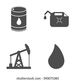 Set of oil and gas icons on white background. Petroleum industry. Vector illustration