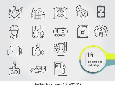 Set of oil and gas line thin icons. Petroleum industry vector illustration