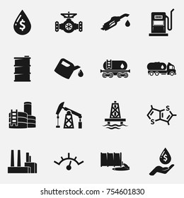 Set of oil and gas vector icons.