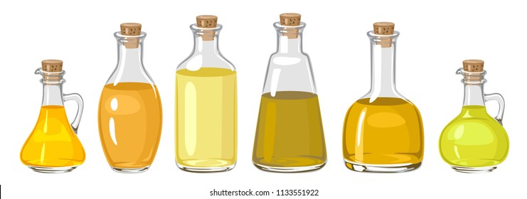 Set of oil in glass bottles isolated on white. Vector illustration in flat style. Virgin organic healthy oil product. Seed oil.