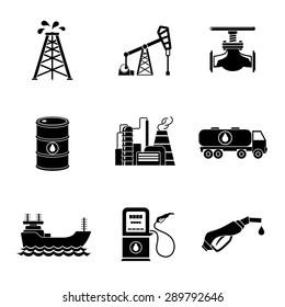 Set of oil icons - barrel, gas station, rigs, tanker, oil truck, plant, valve. Vector