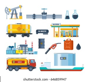 Set of oil industry facilities: an oil plant, equipment for oil production and transportation, storage, drilling rig, tanker truck, platform factory and transportation of gasoline. Vector illustration