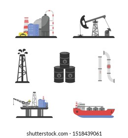 Set of oil industry production transportation and extracting. In cartoon flat style. Vector illustration. Isolated background.