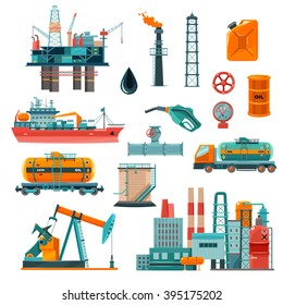 Set of oil industry production transportation extracting cartoon icons vector illustration