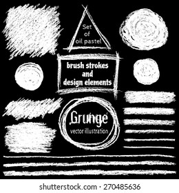 Set of oil pastel brush strokes and design elements. Grunge vector illustration. White pastel crayons and pencil strokes. Isolated on black background. Abstract design