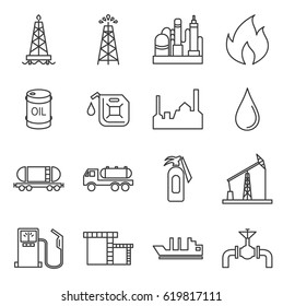 Set of oil production Related Vector Line Icons. Includes such Icons as oil and gas installations, manufacturing, barrel, drilling rigs, oil wells, transportation, oil rig, gasoline, gas station