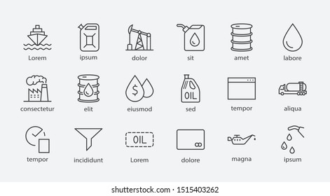 Set of Oil Related Vector Line Icons. Contains such Icons as Fuel Truck, Gas Station, Oil Factory, Transportation and more. Editable Stroke. 32x32 Pixel Perfect.