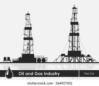 Set of oil rigs silhouettes. Detailed vector illustration over grey background.