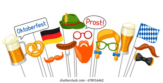 Set of Oktoberfest photo booth props. Accessories for festival and party.