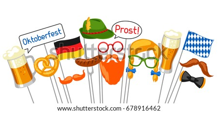 Set Oktoberfest Photo Booth Props Accessories Stock Vector Royalty
