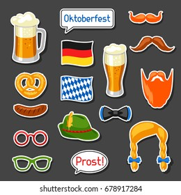 Set of Oktoberfest photo booth stickers. Accessories for festival and party.