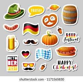 Set of Oktoberfest vector design elements, photo booth props, stickers, badges, scrapbooking elements. Vector EPS10